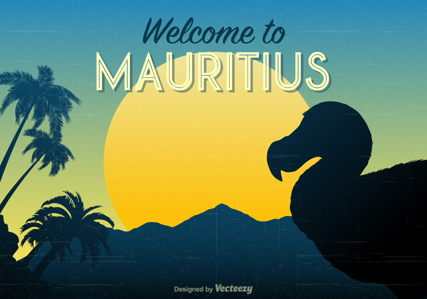 Mauritius Retro Travel Poster Download Free Vector Art