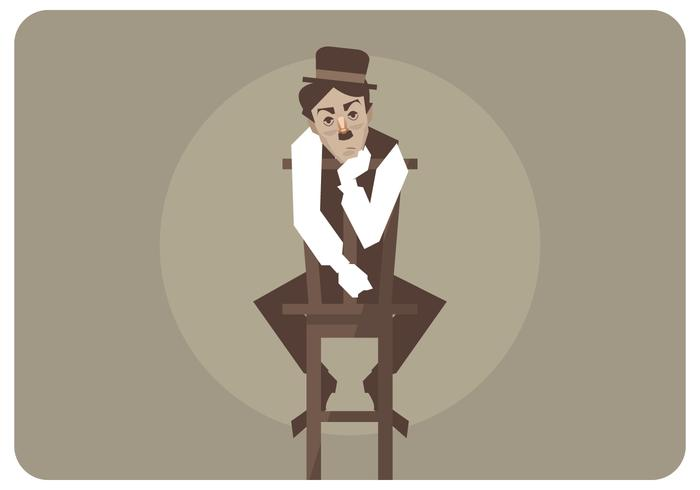Charlie Chaplin Siting in The Chair Vector