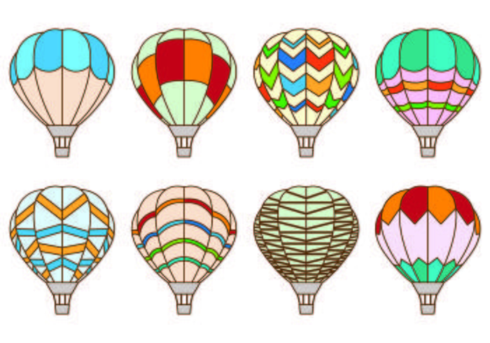Set Of Hot Air Balloon Vectors