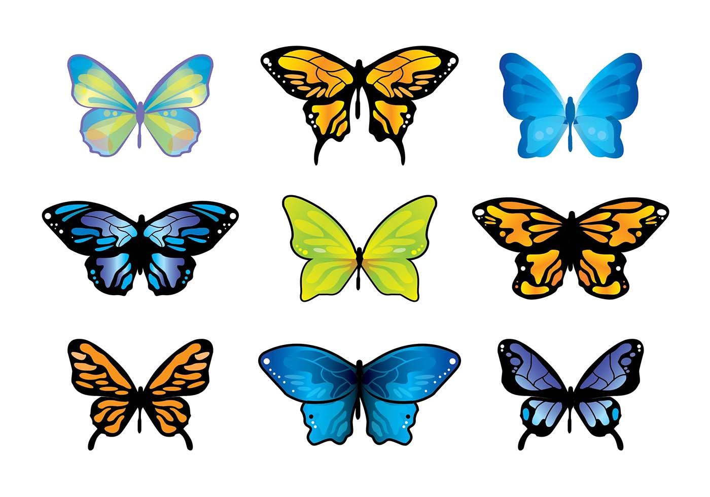 mariposa butterfly vector set download free vector art
