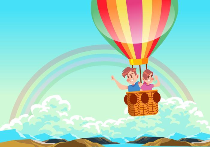 Crianças, montando, quentes, ar, balão, vetorial