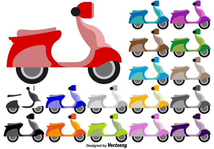 Scooter Flat Colorful Icons - Vector