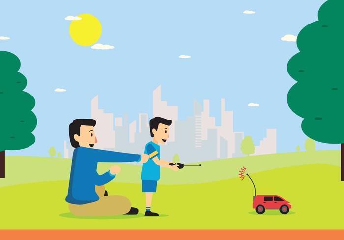 Free Young Boy Playing RC Car with Remote Control On Hand Illustration