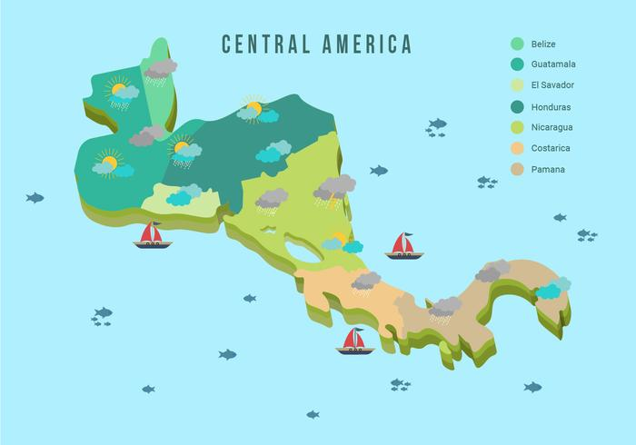 Central America Map With Weather Vector Illustration