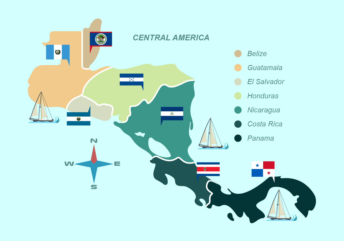 Central America Map With Flag Vector Illustration Download Free - Panama central america map