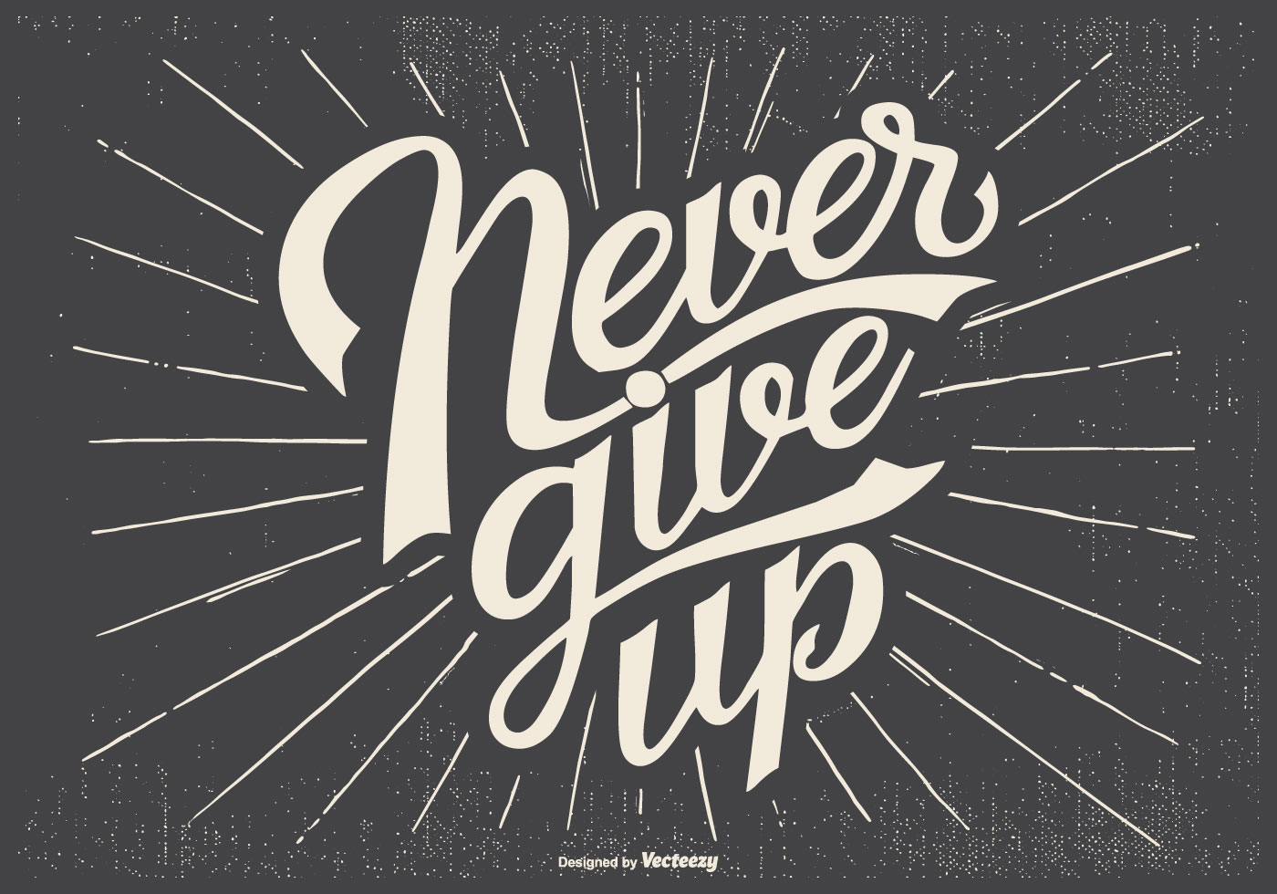 Typographic 'Never Give Up' Illustration - Download Free Vectors ...