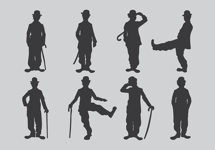 Charlie Chaplin Silhouetten Vektor