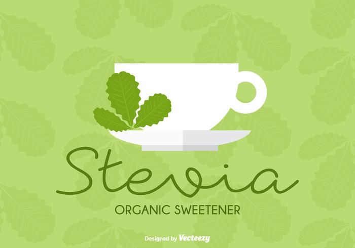 Organic Sweetener Stevia Leaves Cup Vector