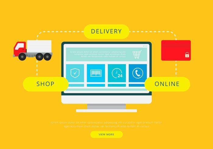 Spostamento di furgoni o camion. Illustrazione di trasporto o di consegna. vettore