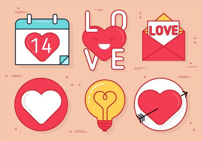 Ensemble d'icônes Vector Valentine gratuit
