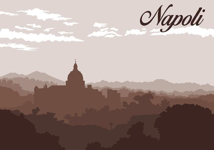 Napoli Silhouette Background Free Vector