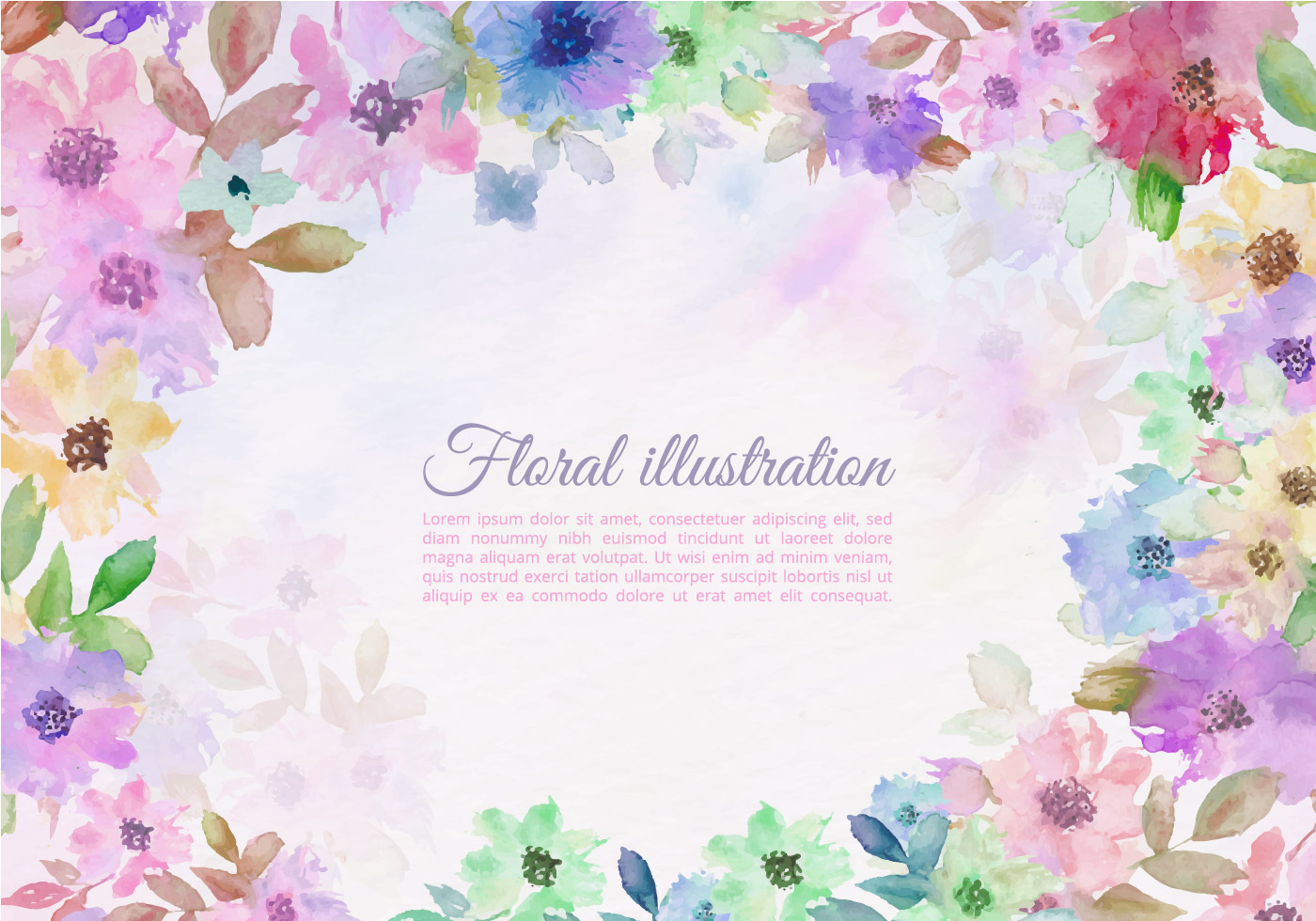 Vector Colorful Watercolor Flower Border - Download Free ...