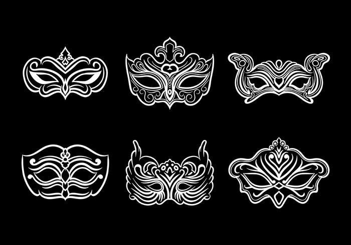 Masquerade Mask Icons Vector