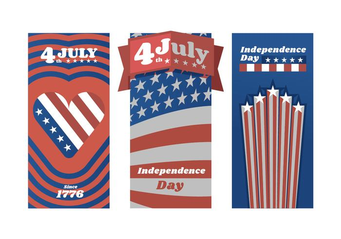 Vettori di poster rosso bianco e blu Independence Day