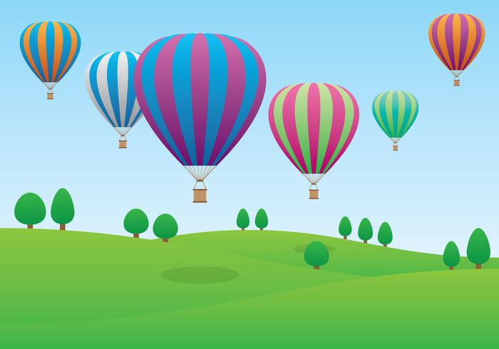 Hot Air Balloons Flying Over the Field