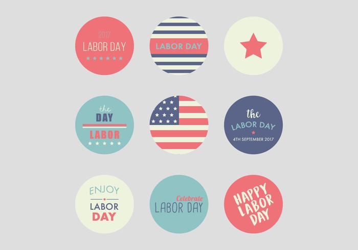 Happy Labor Day Badges vector