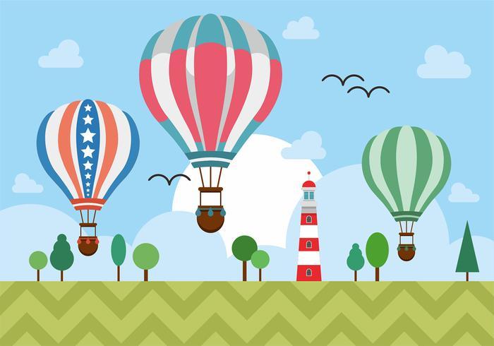 Hot Air Balloons Over Lighthouse Vector Design