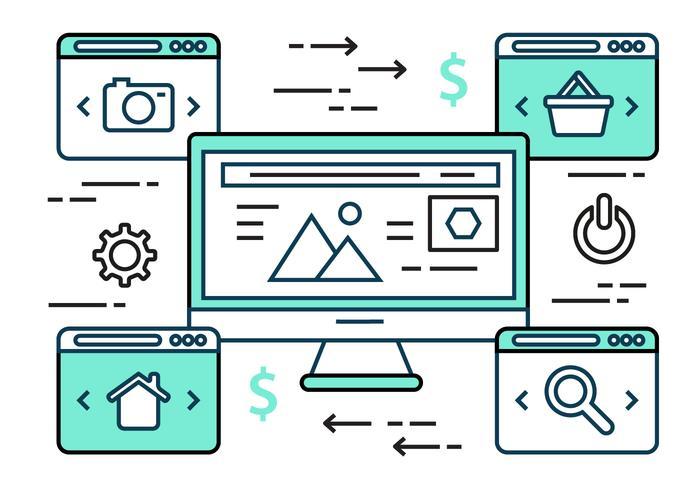 Set di icone vettoriali gratis Design piatto lineare