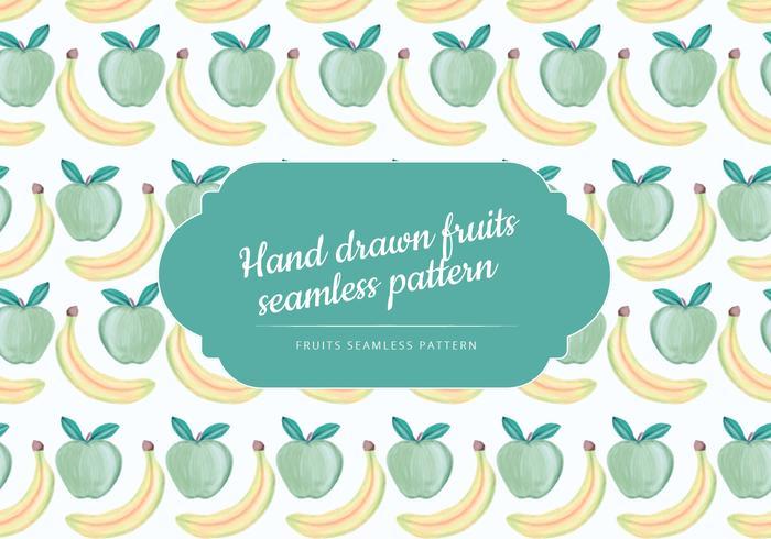 Vetorial, mão, drawn, banana, maçã, seamless, padrão
