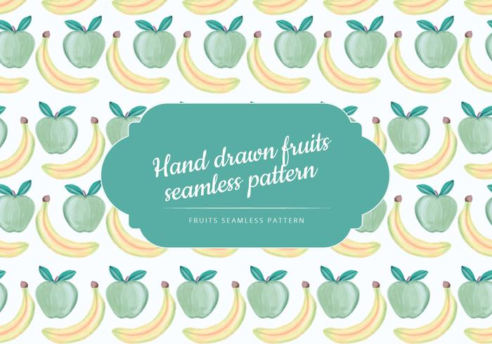 Vector Hand Drawn Banana and Apple Seamless Pattern