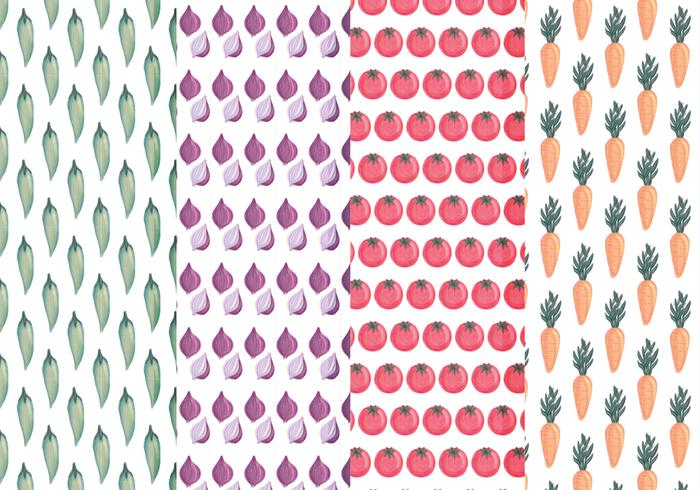 Vector Hand Drawn Vegetables Patterns