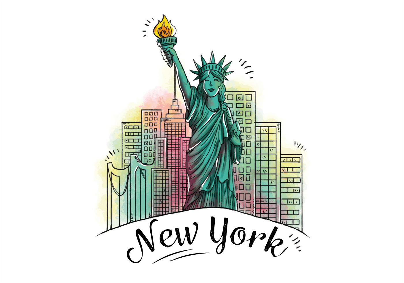 Character Design Statue Of Liberty With Building Behind ... Famous American Flag Art