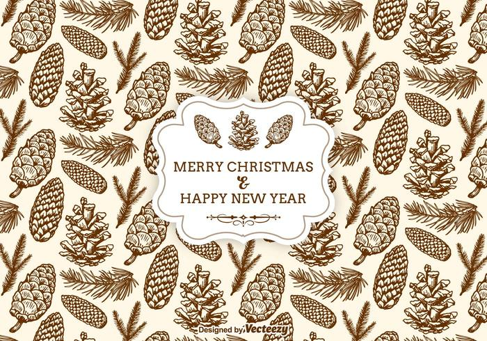 Hand Drawn Christmas Pine Cones Seamless Pattern
