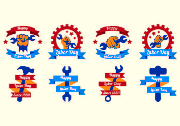 Happy Labor Day Vector Labels