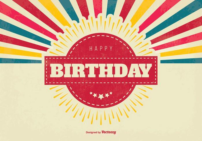 Colorful Retro Happy Birthday Illustration vecteur