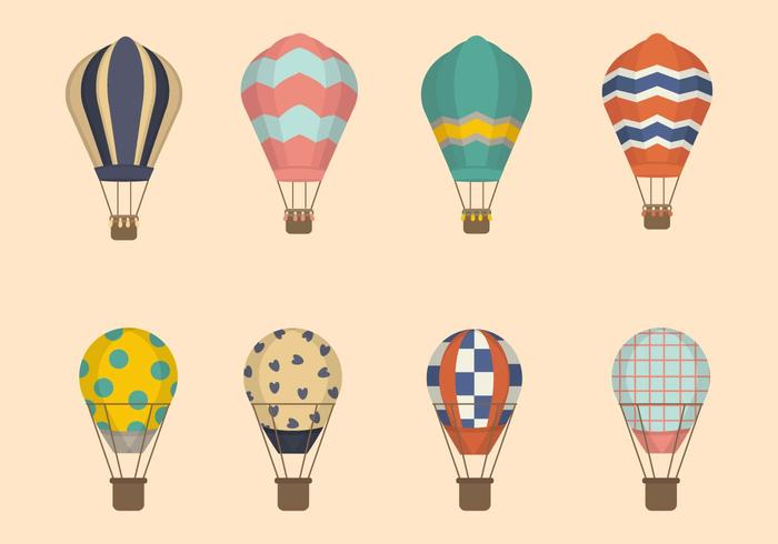 Flat Hot Air Balloon Vectors