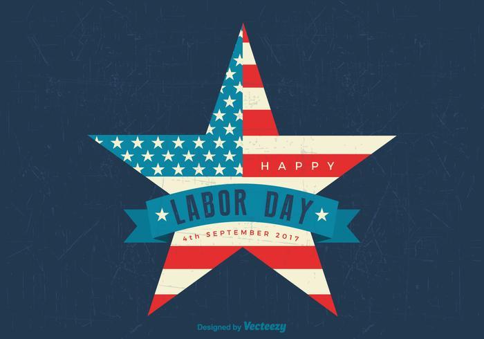 Happy Labor Day American Flag Star Retro Vector Wallpaper