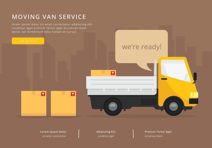 Movendo Van ou Caminhão. Transporte ou Entrega Ilustração.