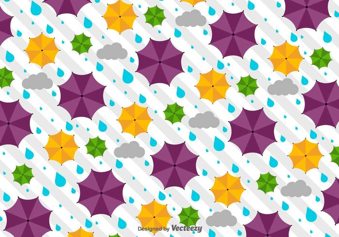 Vector Weather Pattern With Umbrellas