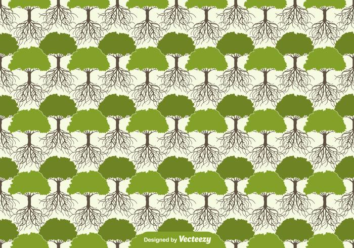 Tree With Roots Seamless Pattern