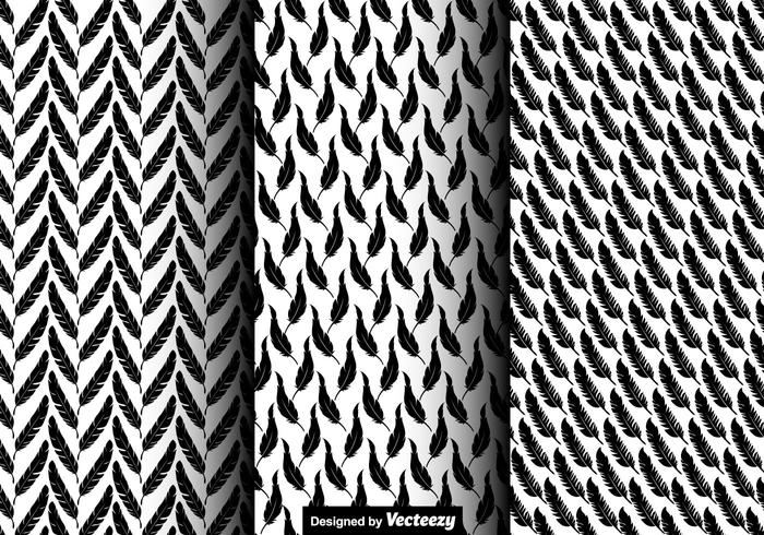 Vector Seamless Pattern Of Feather Icons