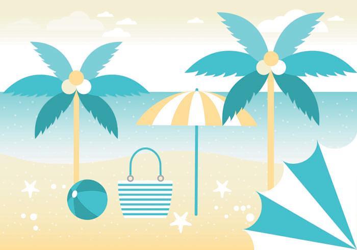Free Summer Vacation Vector Greeting Card