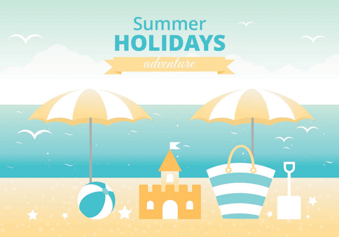 Free Summer Landscape Vector Greeting Card Download Free Vector