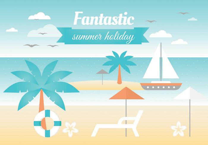 Free Summer Landscape Vector Greeting Card