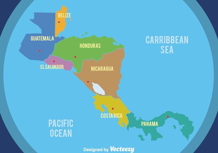 Beau vecteur de la carte en Amérique centrale