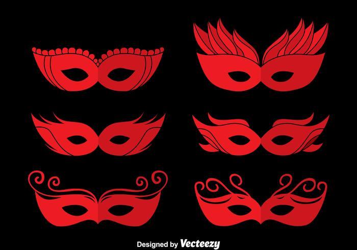 Red Masquerade Masken Vektoren