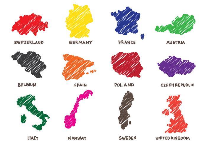 Doodle de cartes européennes vecteur