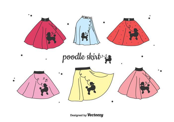 Poodle conjunto de la falda de vectores