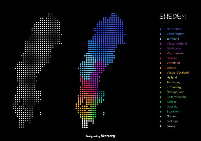 Dotted Color Map Of Administrative Divisions Of Sweden Download