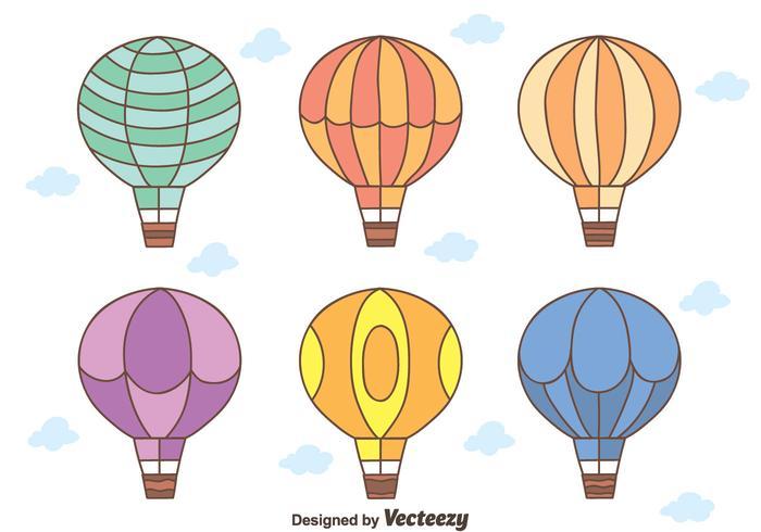 Vecteurs de ballon à air chaud dessiné à la main