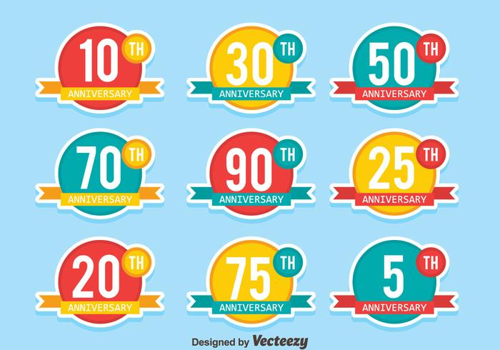 Flat Colored Anniversary Badge Collection Vectors