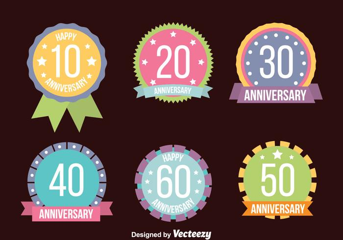 Nice Colored Anniversary Badge Collection Vectors