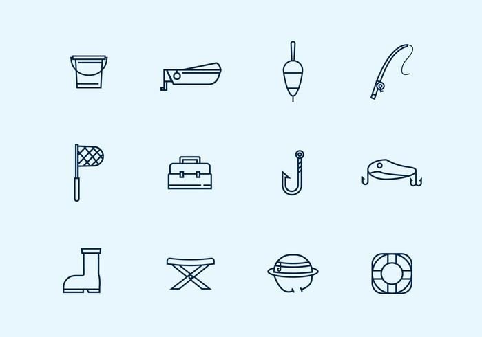 Outline Fishing Icons
