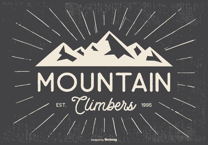 Retro Typographic Mountian Climbers Illustration