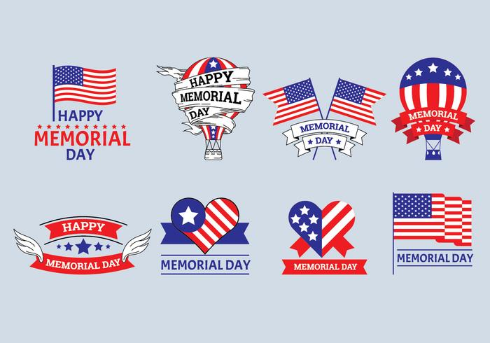 Set of Memorial Day Label Vectors