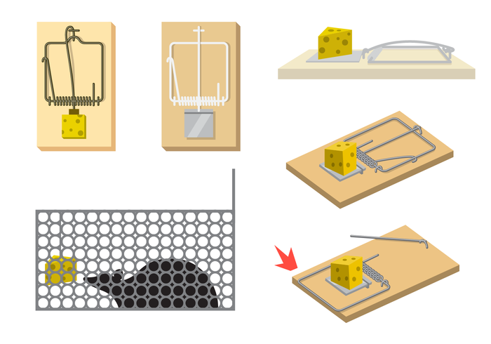Mouse Trap Vector With Cheese